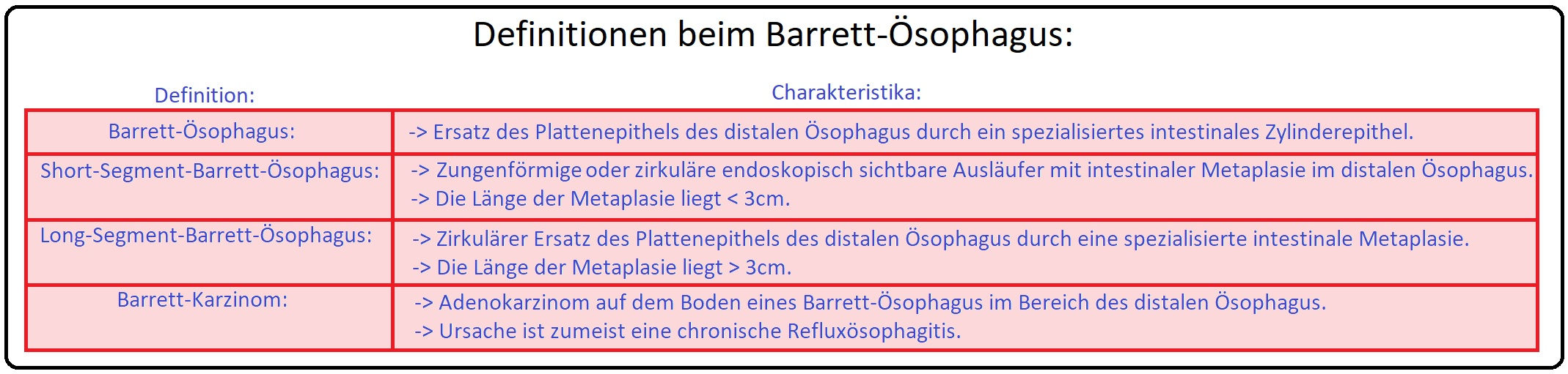 997 Definitionen beim Barrett Ösophagus